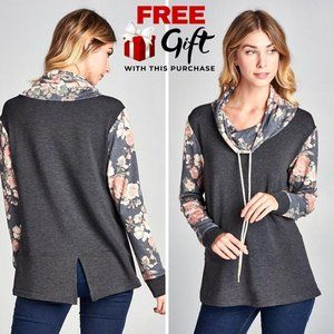NWT Floral French Terry Pullover - Charcoal